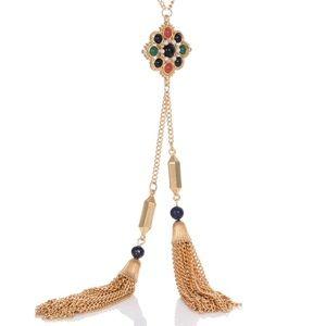 Long necklace double tassel colorful, Lapis